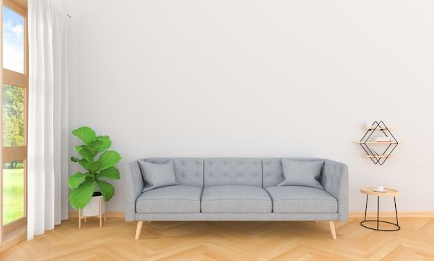 Sofà grigio nell'interno del salone, rappresentazione 3d