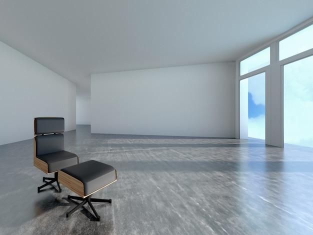Sofà nella sala con l'ombra della finestra, rappresentazione 3d