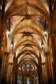Soffitto della cattedrale di santa eulalia a barcellona, spagna