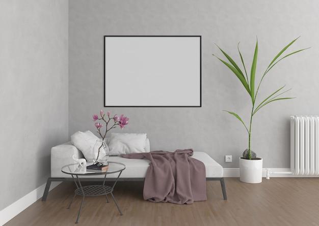 Soggiorno con cornice orizzontale, sfondo di opere d'arte, interni mockup