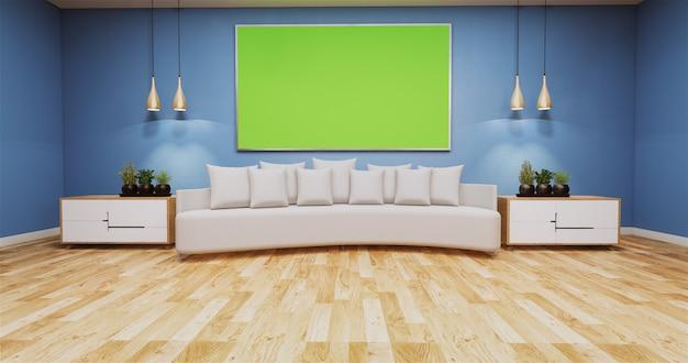 Soggiorno con lavagna verde a parete