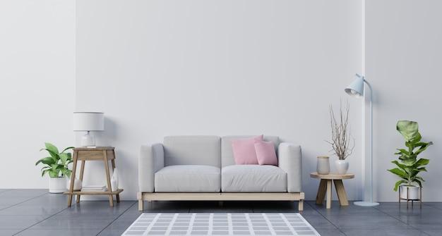 Soggiorno con pareti bianche e divano.