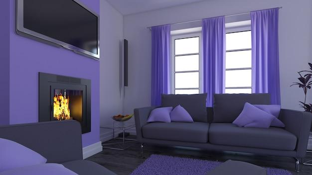 Soggiorno contemporaneo 3d arredamento interno e moderno