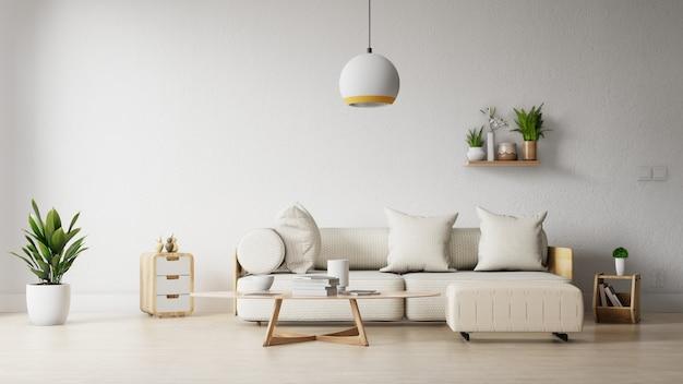 Soggiorno cornice interna con divano bianco colorato