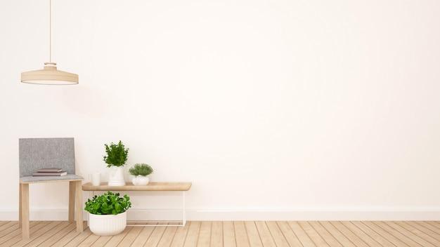 Soggiorno in appartamento o caffetteria - rendering 3d