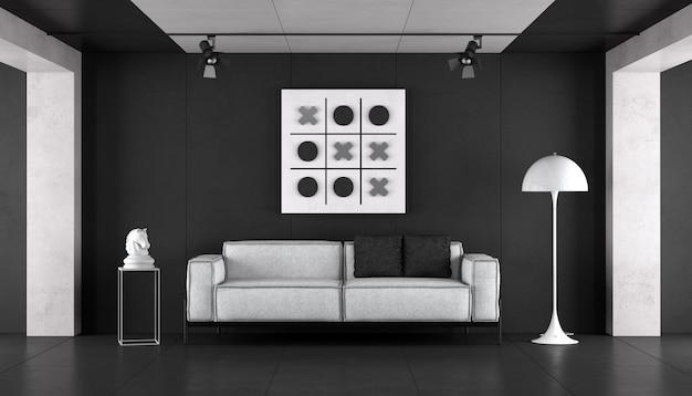 Soggiorno in bianco e nero minimalista