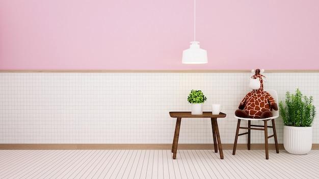 Soggiorno in casa o in camera dei bambini sulla parete in ceramica bianca