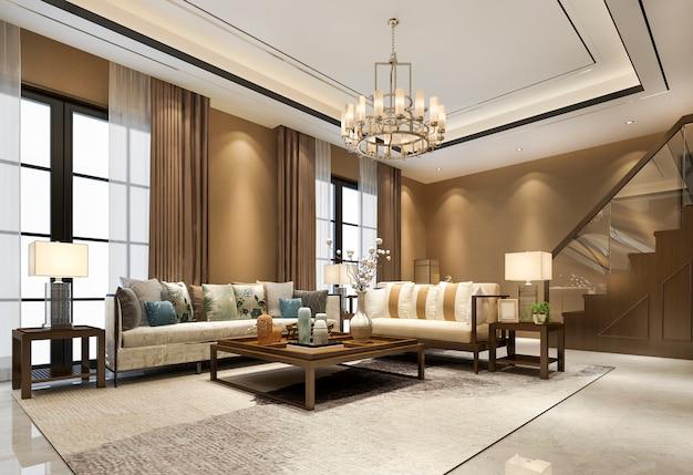 Soggiorno in legno di lusso vintage classico tono caldo vicino a scale e lampadario con soffitto alto