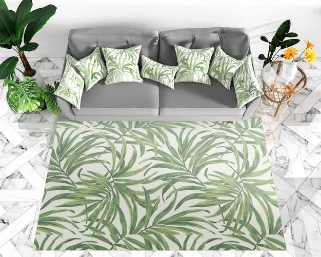Soggiorno interior design - stile tropicale. rendering 3d