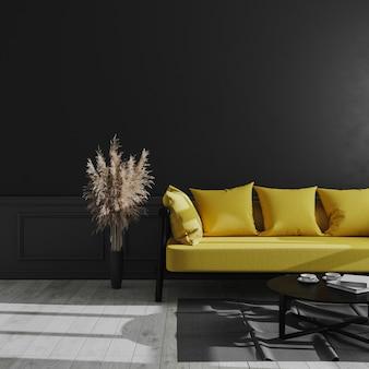 Soggiorno interni moderni con parete nera, divano giallo ed erba di pampa, interni scuri di lusso, soggiorno scuro mock up, stile scandinavo, rendering 3d