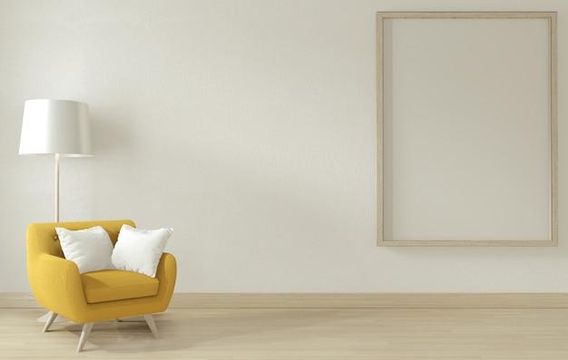 Soggiorno interno con bracciolo giallo divano shair. rendering 3d