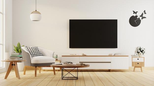 Soggiorno interno con divano e mobile tv. rendering 3d.