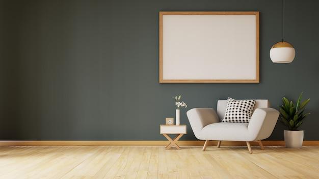 Soggiorno interno con divano in velluto, tavolo sul muro scuro. rendering 3d.