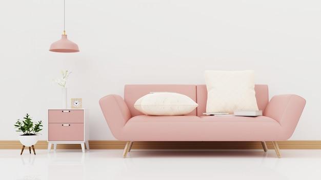 Soggiorno interno con divano rosa colorato. rendering 3d.