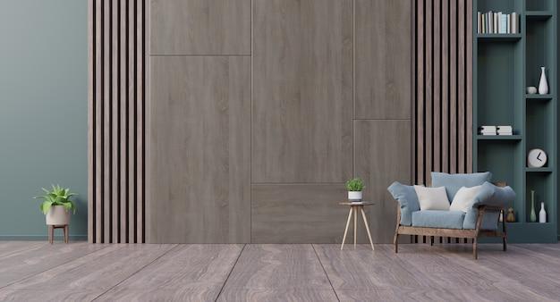 Soggiorno interno con poltrona in velluto blu e parete scura.