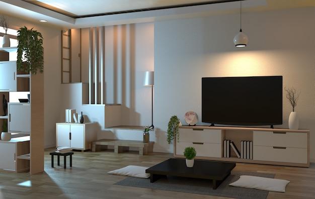 Soggiorno interno in stile zen con smart tv e decorazione in stile giapponese