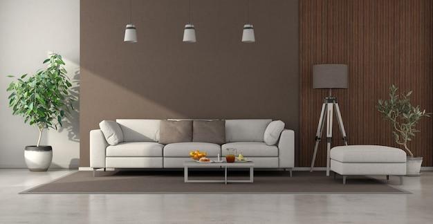 Soggiorno minimalista con divano e pannello in legno. rendering 3d