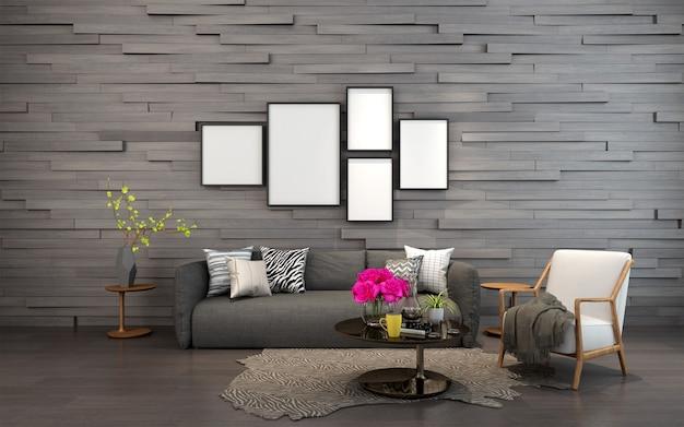 Soggiorno moderno con cornici per foto sul muro
