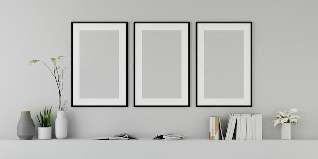 Soggiorno moderno con divano e mobili e gruppo di cornice sul muro. rendering 3d.