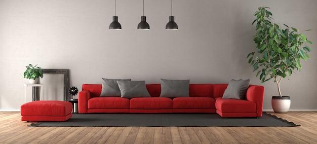 Soggiorno moderno con divano rosso