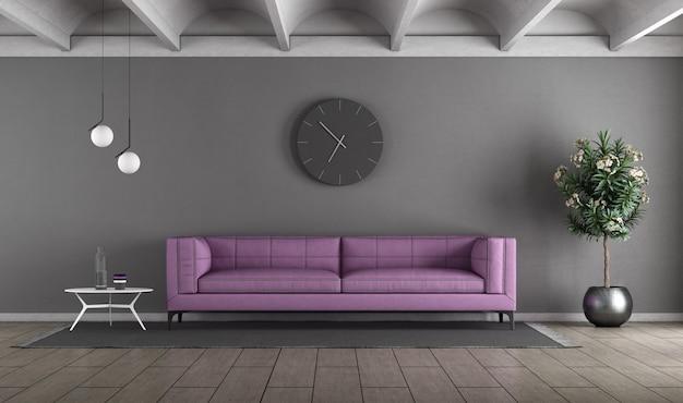 Soggiorno moderno con divano viola contro il muro grigio - rendering 3d