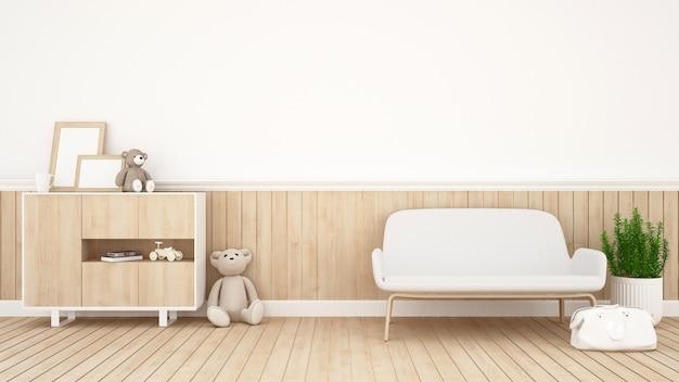 Soggiorno o camera bambino - rendering 3d