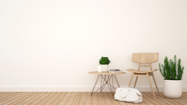 Soggiorno o coffee shop e spazio per opere d'arte - rendering 3d
