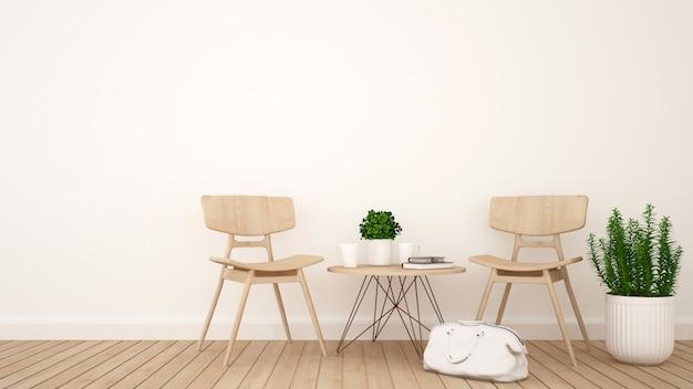 Soggiorno o coffee shop - rendering 3d