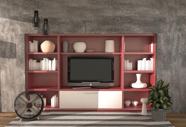 Soggiorno - stile loft moderno, rendering 3d