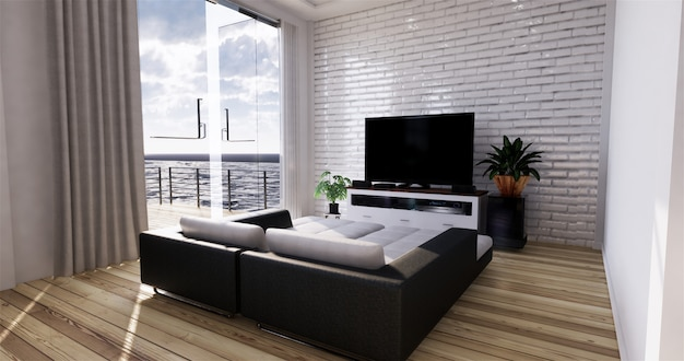 Soggiorno vista mare in casa estiva moderna spiaggia. rendering 3d