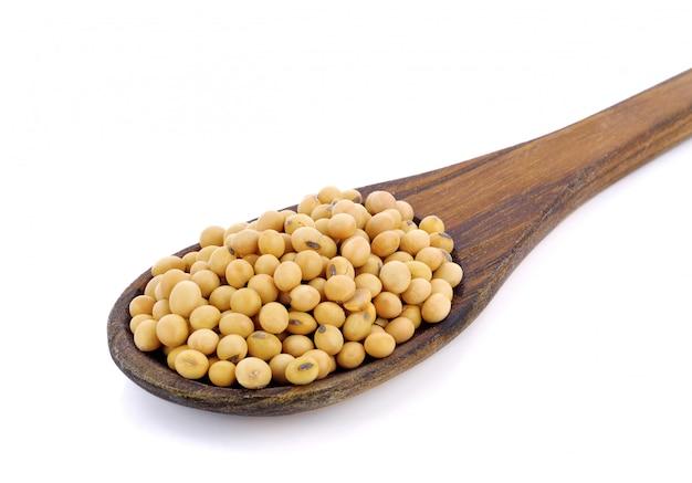 Soia ammuffita in cucchiaio di legno