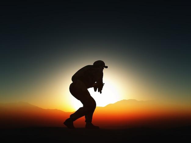 Soldato attaccando silhouette