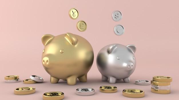 Soldi isolati monete di oro, rappresentazione 3d