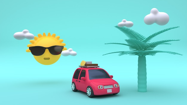 Sole nuvole nuvole albero di cartone animato stile rosso auto 3d rendering vacanza mare, spiaggia, estate concetto