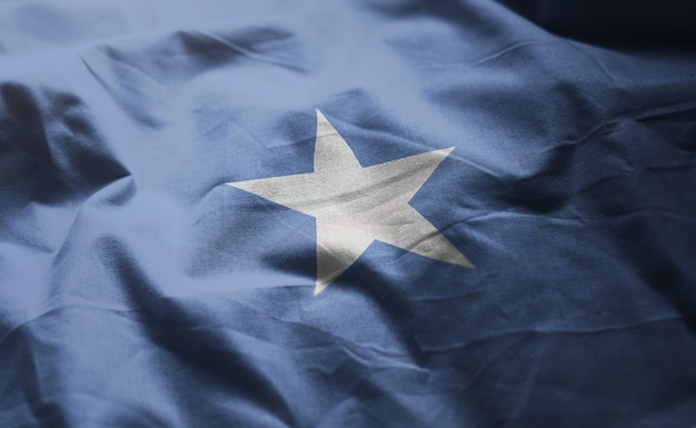 Somalia flag rumpled close up