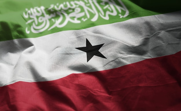 Somaliland flag rumpled close up