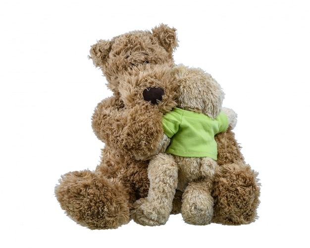 Sopporti la bamboletta che si siede sulla bambola dell'orso della madre e che si abbracciano mostrando amore