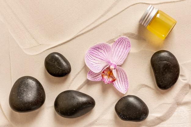 Sopra la vista disposizione con piccole pietre e fiori