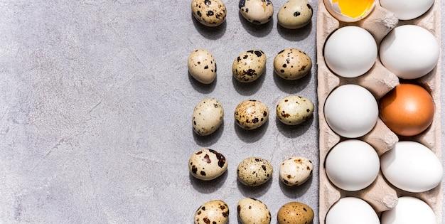 Sopra vista concetto di cibo sano con uova