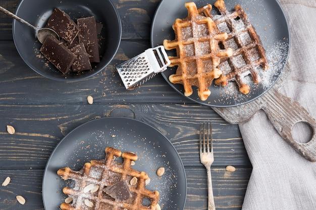 Sopra vista deliziosi waffle