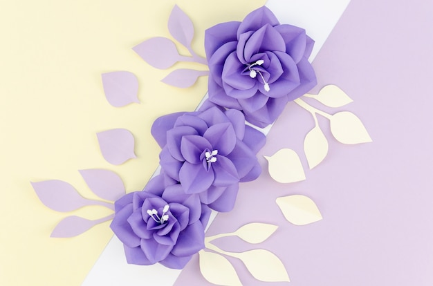 Sopra vista disposizione con fiori colorati e lo sfondo