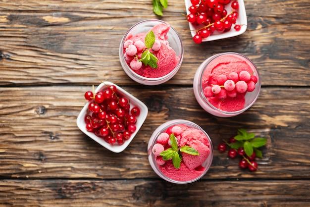 Sorbetto casalingo congelato con ribes rosso