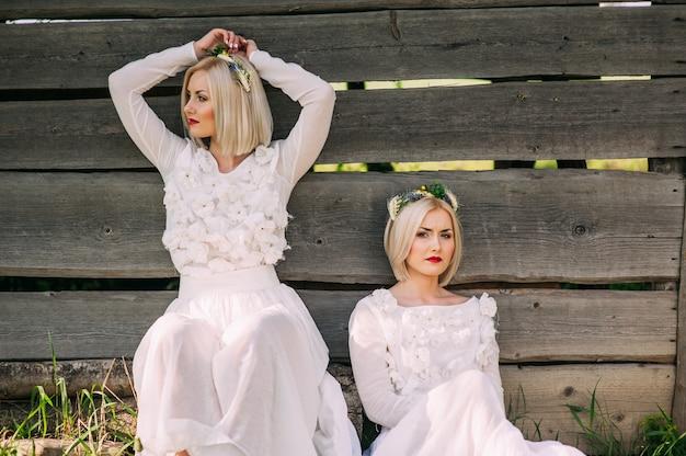 Sorelle gemelle che si siedono ad una parete di legno