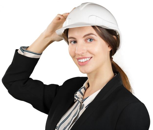 Sorridente ingegnere donna d'affari
