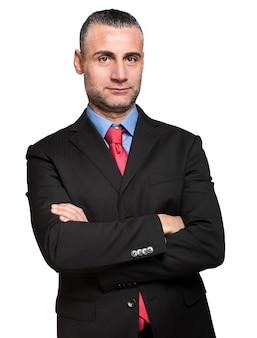 Sorridente uomo d'affari bello. isolato su sfondo bianco