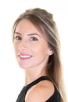 Sorridere di profilo del ritratto della donna di affari bello