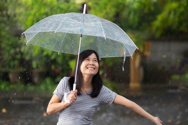 Sorridi la donna sotto la pioggia con l'ombrello