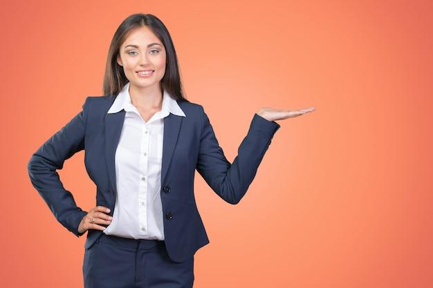 Sorriso dito spettacolo donna d'affari