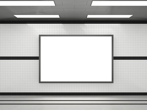 Sottopassaggio con cornice di cartellone pubblicitario bianco bianco