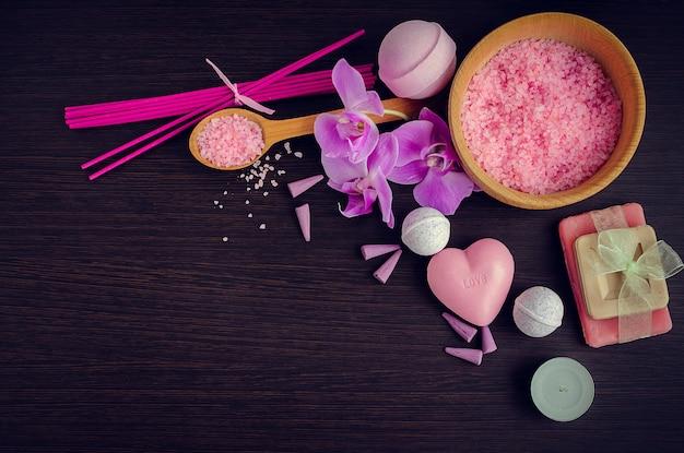 Spa e benessere impostazione con sapone naturale